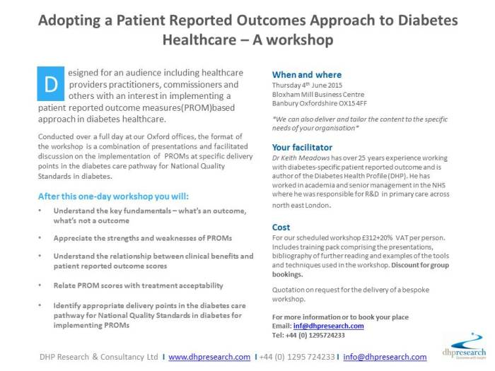 Implemting patient reported outcome measures in diabetes healthcare